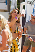 Exclusive<br /> Ferne McCann shows off her figure in patterned bikini at BH hotel pool party in Magaluf <br /> Exclusivepix Media