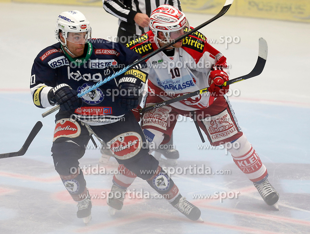 11.10.2015, Stadthalle, Villach, AUT, EBEL, EC VSV vs EC KAC, 10. Runde, im Bild Brock McBride (VSV) und Jonas Nordqvist (KAC) // during the Erste Bank Icehockey League 10th round match between EC VSV vs EC KAC at the City Hall in Villach, Austria on 2015/10/11, EXPA Pictures © 2015, PhotoCredit: EXPA/ Oskar Hoeher