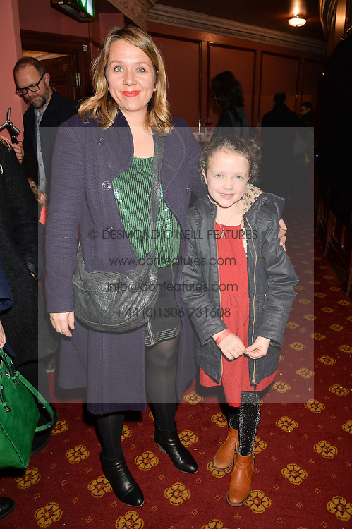 KERRY GODLIMAN and her daughter ELSIE at an after show party following the opening of Peter Pan at the New Wimbledon Theatre, 93 The Broadway, London on 8th December 2015.