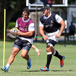 DURBAN, SOUTH AFRICA, Friday 15, January 2016 - Juan Schoeman with Jean Deysel during The Cell C Sharks Pre Season training Friday 145h January 2016,for the 2016 Super Rugby Season at Growthpoint Kings Park in Durban, South Africa. (Photo by Steve Haag)<br /> images for social media must have consent from Steve Haag