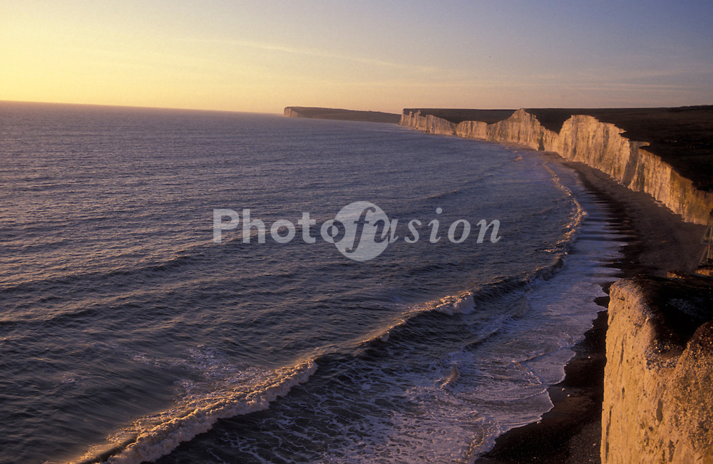 Seven Sisters chalk cliffs; Sussex coast; Southern England