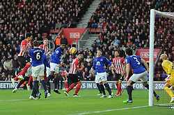 Everton's Romelu Lukaku scores an own goal under pressure from Southampton's Jose Fonte - Photo mandatory by-line: Alex James/JMP - Mobile: 07966 386802 - 20/12/2014 - SPORT - Football - Southampton  - St Mary's Stadium - Southampton  v Everton - Football