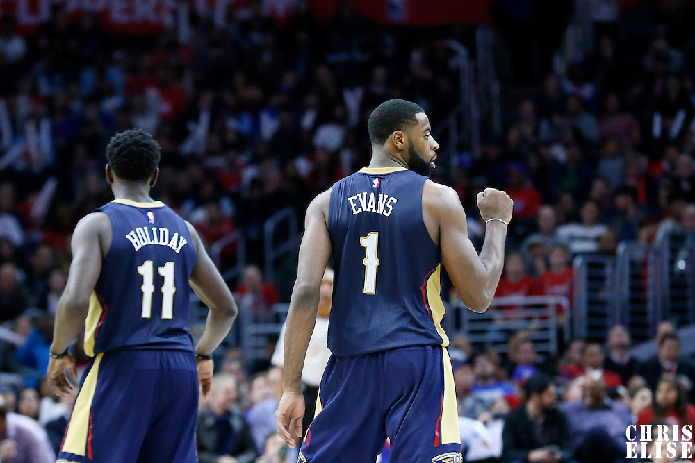 10 January 2016: New Orleans Pelicans guard Tyreke Evans (1) reacts next to New Orleans Pelicans guard Jrue Holiday (11) during the Los Angeles Clippers 114-111 overtime victory over the New Orleans Pelicans, at the Staples Center, Los Angeles, California, USA.