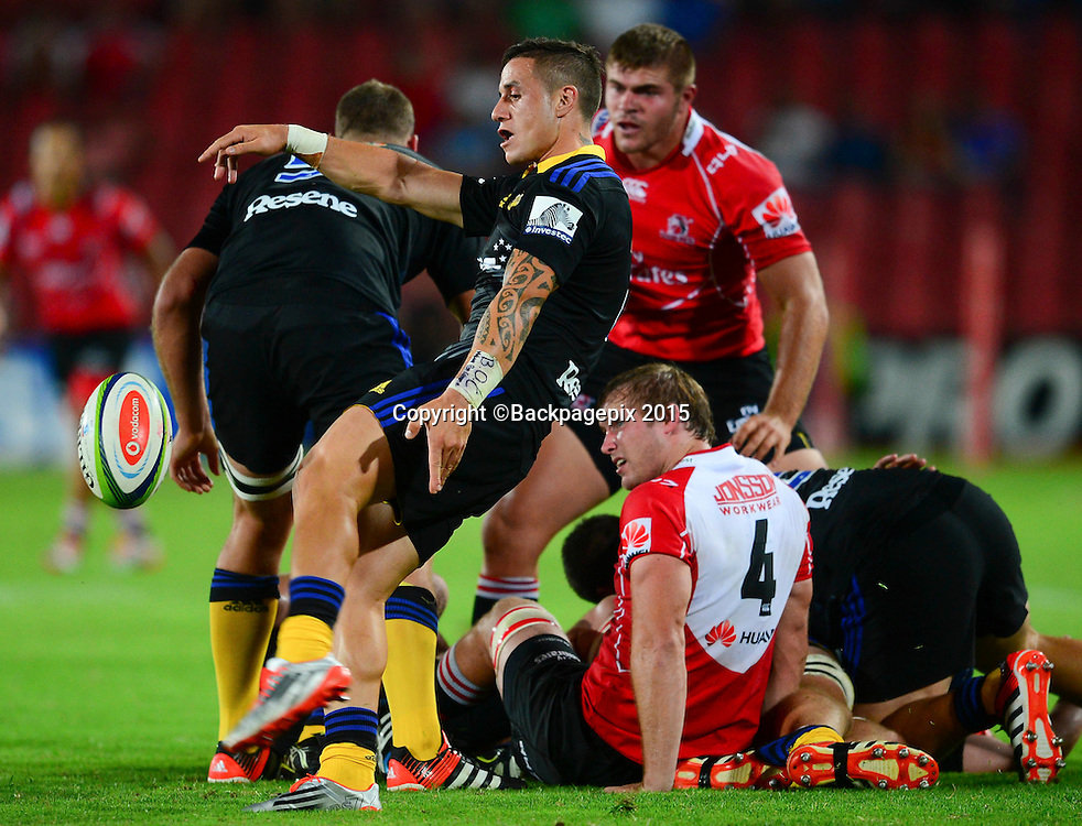 TJ Perenara of the Hurricanes during the 2015 Super Rugby rugby match between the Lions and the Hurricanes at Ellis Park in Johannesburg, South Africa on February 13, 2015 ©Barry Aldworth/BackpagePix