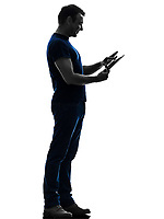 one  man touchscreen digital tablet in silhouette on white background
