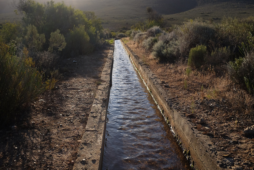 Ley water,  McGregor, two hours North East of Cape town. Ley water is an old system of channeling water from the mountain to small holdings and plots in town. Most small towns have a Ley water system. In August 2017, despite having full dams  McGregor cut off the Ley water to residents in case Cape Town needs the water.