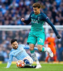 David Silva of Manchester City tackles Dele Alli of Tottenham Hotspur - Mandatory by-line: Robbie Stephenson/JMP - 17/04/2019 - FOOTBALL - Etihad Stadium - Manchester, England - Manchester City v Tottenham Hotspur - UEFA Champions League Quarter Final 2nd Leg