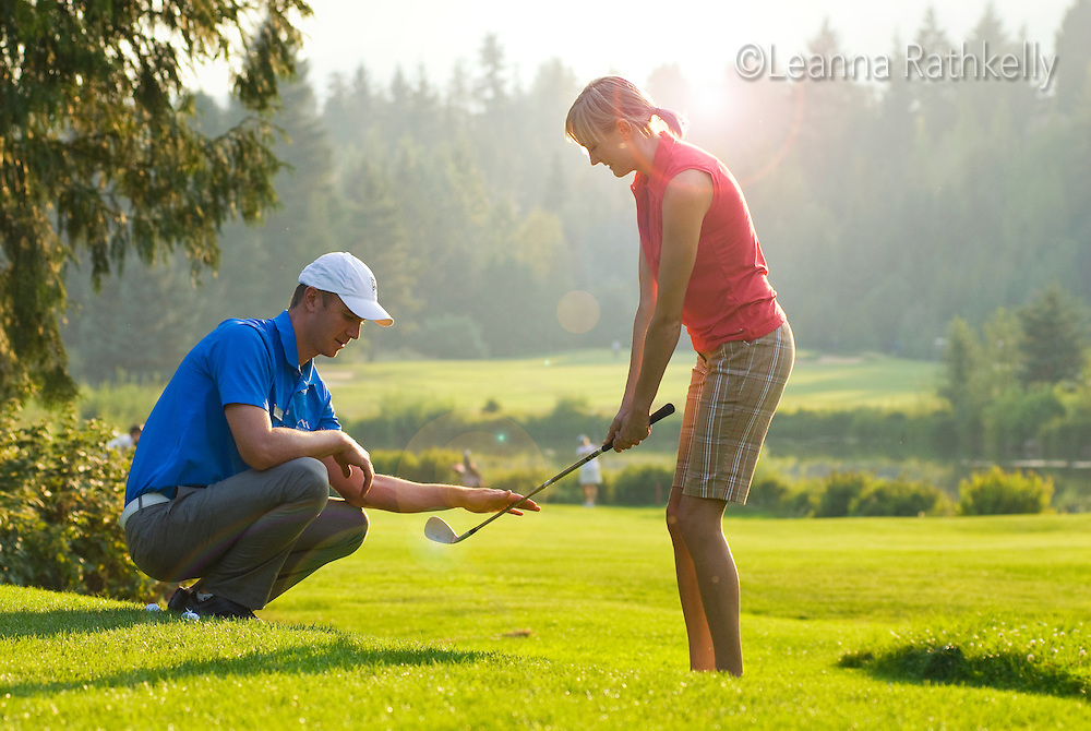 Duncan Savage, golf pro, teaches a lesson at the Whistler Golf Course, Whistler, BC Canada