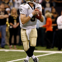 September 9, 2010; New Orleans, LA, USA; New Orleans Saints quarterback Drew Brees (9) during the NFL Kickoff season opener at the Louisiana Superdome. The New Orleans Saints defeated the Minnesota Vikings 14-9.  Mandatory Credit: Derick E. Hingle