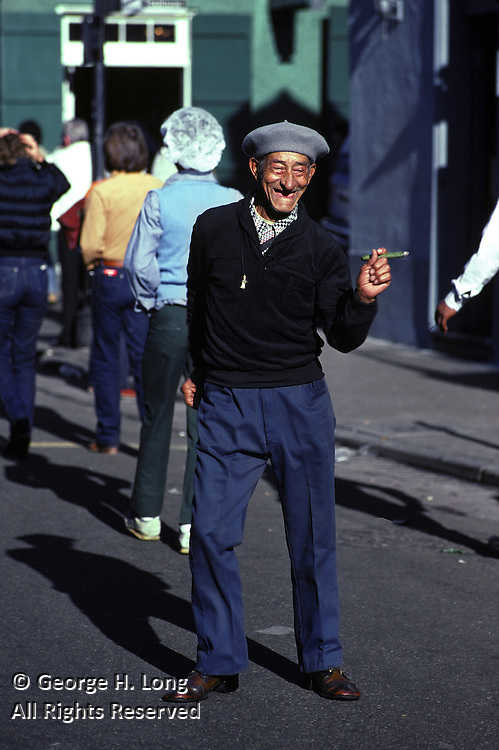 One of the French Quarter's most well known characters was Pops, who was known for dancing in the street, dropping his pants to show his boxer shorts, and rolling his dentures around in his mouth; New Orleans, Louisiana; circa 1983