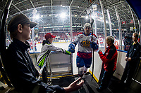 KELOWNA, BC - NOVEMBER 26: Matthew Robertson #22 of the Edmonton Oil Kings exits the ice after warm up against the Kelowna Rockets  at Prospera Place on November 26, 2019 in Kelowna, Canada. (Photo by Marissa Baecker/Shoot the Breeze)