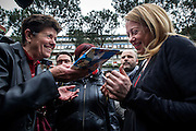 Rome may 14 th 2016, the candidate for Rome's mayor Giorgia Meloni visits a senior center in the suburb of Tor Sapienza. In the picture Giorgia Meloni receives a gift for her pregnancy by a citizen