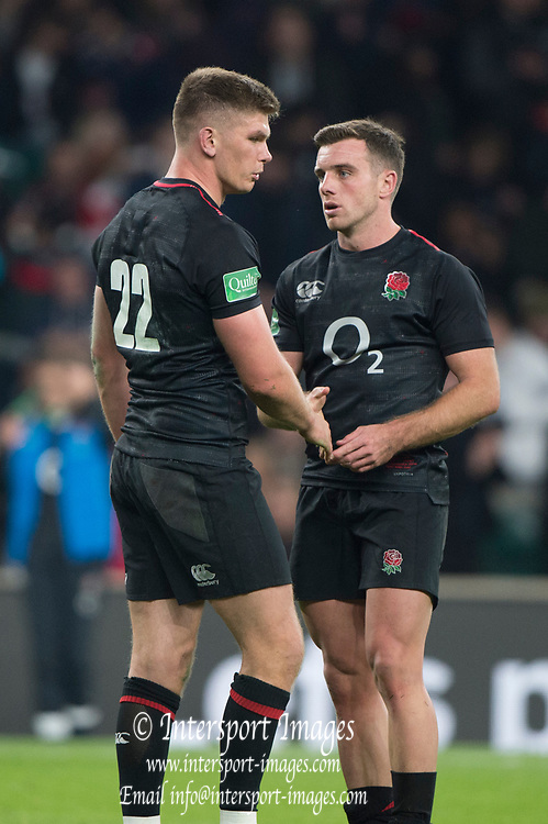 Twickenham, United Kingdom, Saturday, 17th  November 2018, RFU, Rugby, Stadium, England, left, Owen FARRELL and right, George FORD, at the end of the Quilter Autumn International, England vs Japan, © Peter Spurrier