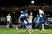 Wycombe Wanderers striker Adebayo Akinfenwa (20) takes a shot at goal during the The FA Cup match between Wycombe Wanderers and Tranmere Rovers at Adams Park, High Wycombe, England on 20 November 2019.