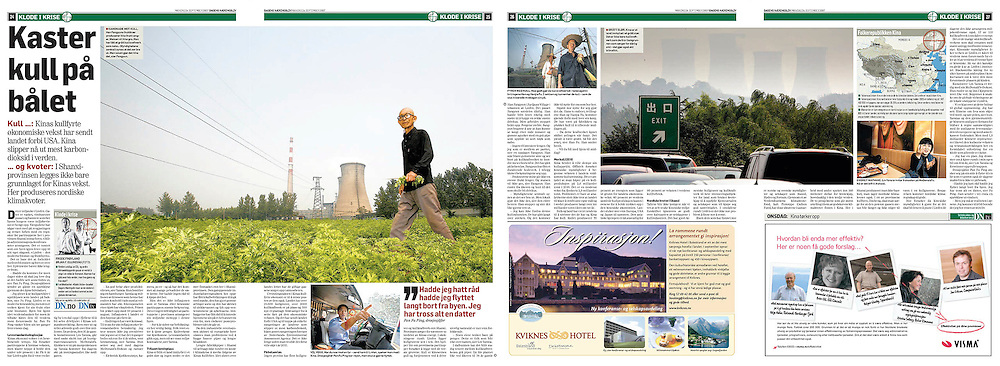 Title: Throwing coal on the fire. A story on CO2 emissions from the biggest contributor. Writer: Frode Frøyland. Published in Dagens Næringsliv Sept. 2007.