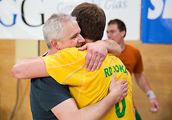 Robi Bradesko, head coach of RD Loka and Darko Cingesar celebrate after the handball match between RD Loka and RK Slovenj Gradec in 21st Round of 1B DRL  league 2013/14 on May 10, 2014, in Sportna dvorana Poden, Skofja Loka, Slovenia. Photo by Vid Ponikvar / Sportida