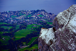 A small section of Lucerne, Switzerland is visible from Mount Pilatus.