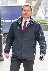 © Licensed to London News Pictures. 16/03/2017. London, UK. Health Secretary Jeremy Hunt arrives at The King's Fund to speak at the NHS Confederation annual mental health network conference. Photo credit : Tom Nicholson/LNP