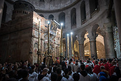 14 April 2019, Jerusalem: Sunday service at the Church of the Holy Sepulchre, in the Old City of Jerusalem.