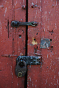 Old door and lock detail in Tarabuco, Chuquisaca, Bolivia