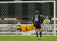 DC United's Chris Rolfe watches the ball hit the post. DC United defeated the LA Galaxy 1-0 with a stoppage time goal from Chris Pontius at RFK Stadium in Washington DC.