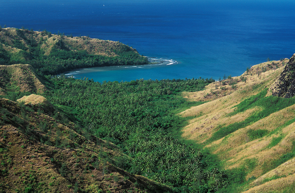 Guam, Micronesia: Cetti Bay on the southwest coast of the island from a highway lookout point.