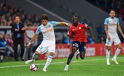 September 30, 2018 - Lille, France - Hiroki Sakai ( Olympique Marseille ) - Nicolas Pepe  (Credit Image: © Panoramic via ZUMA Press)