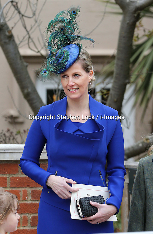 Sophie, Countess of Wessex in a peacock feather hat as she leaves the Easter Day service at St.George's Chapel, Windsor Castle, Sunday, 31st March 2013.  Photo by: Stephen Lock / i-Images