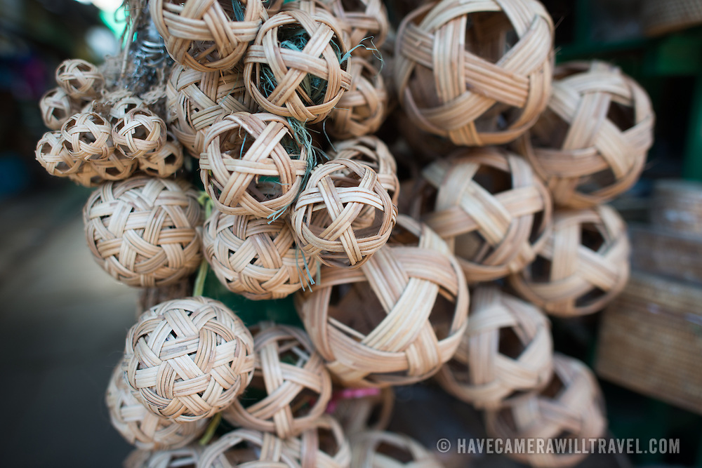 NYAUNG-U, Myanmar - Various sizes of cane balls for playing the traditional local sport of Chinlone at Nyaung-U Market, near Bagan, Myanmar (Burma).
