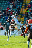 KELOWNA, CANADA - OCTOBER 21: Defensive back Dustin Magee #24 of the Okanagan Sun tackles wide receiver Jacob Penner #17 of the Chilliwack Huskers during BCFC semi-final play on Sunday, October 21, 2018, at the Apple Bowl, in Kelowna, British Columbia, Canada.  (Photo by Marissa Baecker/Shoot the Breeze)  *** Local Caption ***
