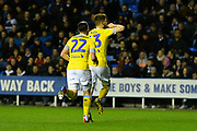 Goal - Mateusz Klich (43) of Leeds United celebrates scoring a goal to give a 0-1 lead to the away team during the EFL Sky Bet Championship match between Reading and Leeds United at the Madejski Stadium, Reading, England on 12 March 2019.