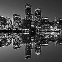 Boston B&W photography of the famous Boston Harbor in Downtown Boston. This historic and iconic New England city of Boston night scenery photography image is available as museum quality photography prints, canvas prints, acrylic prints or metal prints. Fine art prints may be framed and matted to the individual liking and decorating needs:<br />
