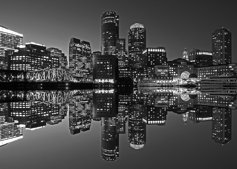 Boston B&amp;W photography of the famous Boston Harbor in Downtown Boston. This historic and iconic New England city of Boston night scenery photography image is available as museum quality photography prints, canvas prints, acrylic prints or metal prints. Fine art prints may be framed and matted to the individual liking and decorating needs:<br />
