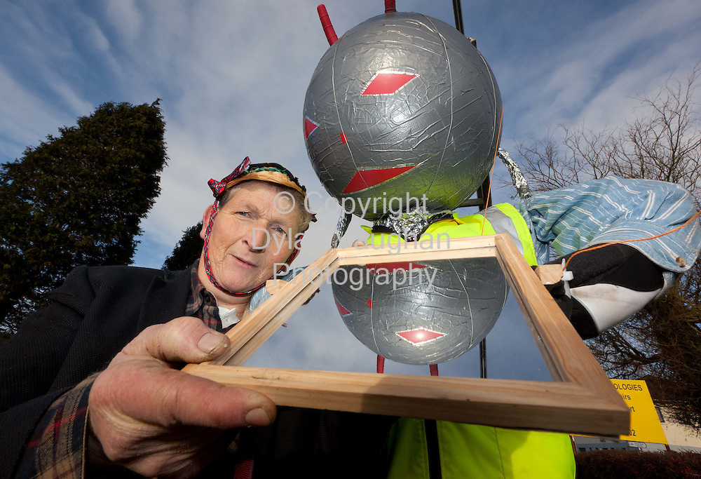 1/1/2012.Willie Joe Meally from Clogh Castlecomer with his Martian pictured at the Annual Castlecomer Wellie Race and Fancy Dress Parade in Castlecomer County Kilkenny..Picture Dylan Vaughan...