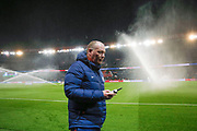 Chief gardener Jonathan Calderwood with it remote at half time break during the French Championship Ligue 1 football match between Paris Saint-Germain and ESTAC Troyes on November 29, 2017 at Parc des Princes stadium in Paris, France - Photo Stephane Allaman / ProSportsImages / DPPI