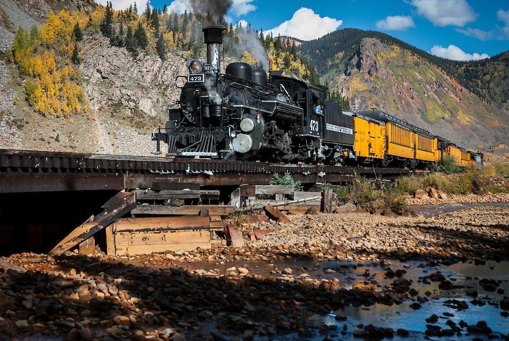 Durango & Silverton Narrow Guage Railroad outside of Silverton, Colorado.