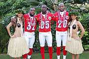 KO OLINA - FEBRUARY 10:  Cincinnati Bengals 2005 NFL Pro Bowl AFC All-Stars (left to right: Rudi Johnson #32, Chad Johnson #85, and Tory James #20) pose with Hawaiian Hula girls for their 2005 NFL Pro Bowl team photo on February 10, 2005 in Ko Olina, Hawaii. ©Paul Anthony Spinelli