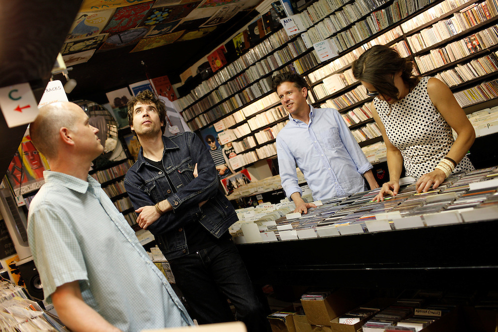 Superchunk; Jim Wilbur, Jon Wurster, Laura Ballance,   and Mac McCaughan at CD Alley in Chapel Hill, N.C.