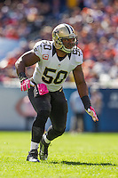 06 October 2013: Linebacker (50) Curtis Lofton of the New Orleans Saints in game action against the Chicago Bears during the first half of the Saints 26-18 victory over the Bears in an NFL Game at Soldier Field in Chicago, IL.