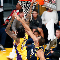 10 October 2017: Los Angeles Lakers forward Brandon Ingram (14) goes for the layup past Utah Jazz center Rudy Gobert (27) during the Utah Jazz 105-99 victory over the LA Lakers, at the Staples Center, Los Angeles, California, USA.