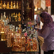Highly ornate perfume bottles for sale in the souq, Damascus
