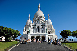 Sacre Coeur, the Basilica of the Sacred Heart, is at the top of Montmartre, the highest point in Paris.