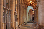Western ambulatory, Laon Cathedral or the Cathedrale Notre-Dame de Laon, built 12th and 13th centuries in Gothic style, in Laon, Aisne, Picardy, France. The cathedral is listed as a historic monument. Picture by Manuel Cohen