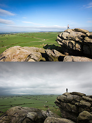 © Licensed to London News Pictures. 18/05/2016. Leeds UK. YESTERDAY & TODAY WEATHER COMPARISON. Top picture taken 17/05/2016 shows a man standing on top of Almscliffe Crag in the sunshine yesterday. Bottom picture taken 18/05/2016 shows a man standing on top of Almscliffe Crag on an overcast day today. Photo credit: Andrew McCaren/LNP