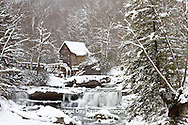 67395-04308 Glade Creek Grist Mill in winter, Babcock State Park, WV