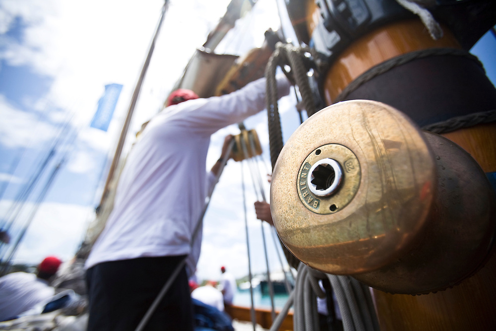 A bronze winch on board the 130 ft schooner yacht SY Altair  during the 2008 Antigua Classic Yacht Regatta . This race is one of the worlds most prestigious traditional yacht races. It takes place annually off the cost of Antigua in the British West Indies. Antigua is a yachting haven, historically a British navy base in the times of Nelson.