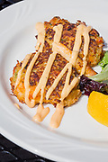Crab Cakes at the restaurant &quot;The Deck at Lake Hood&quot;, The Lakefront Hotel, Anchorage, Alaska, USA<br /> <br /> Photographer: Christina Sjogren<br /> <br /> Copyright 2018, All Rights Reserved