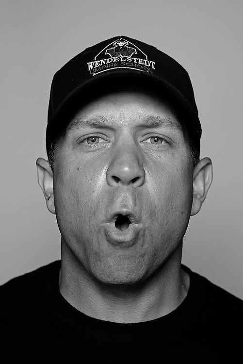 DAYTONA BEACH, FL - FEBRUARY 2, 2016:  Portraits of umpires calling a strike at the Harry Wendelstedt Umpire School in Daytona Beach, Fla.: Jason Constantini, 37, of Point Pleasant, NJ. (Photo by Melissa Lyttle)
