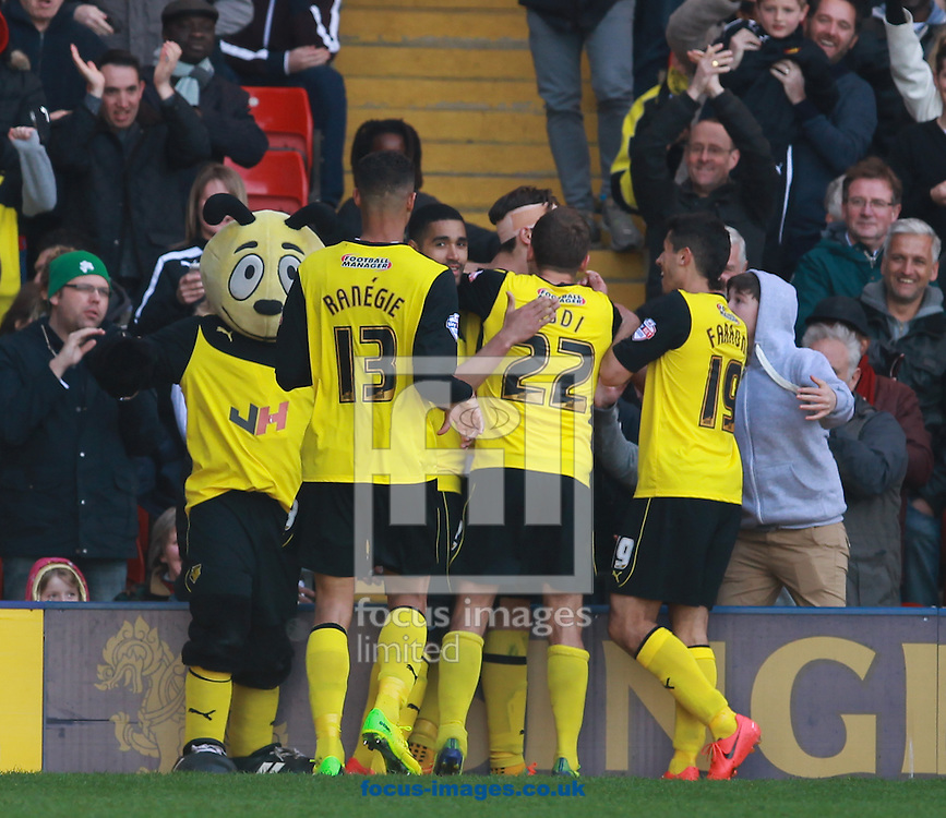 Gabriele Angella of Watford celebrates putting his side back in front against Ipswich Town with team-mates during the Sky Bet Championship match at Vicarage Road, Watford<br /> Picture by John Rainford/Focus Images Ltd +44 7506 538356<br /> 19/04/2014