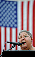Jaye W. Green performs the National Anthem during the 9th Annual Patriotic Concert featuring the Verdi Band at Saint Bede the Venerable Friday July 3, 2015 in Holland, Pennsylvania. (Photo by William Thomas Cain)